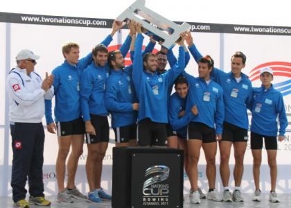 The 8+ Greek National Team are champions of the Two Nations Cup Rowing 2011